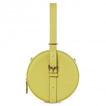 'Macaron' Nappa Leather round handbag Anis & Gold
