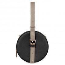 'Macaron' Nappa Leather round handbag Black & Gold
