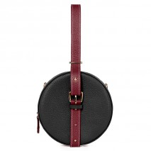 'Macaron' Nappa Leather round handbag Black, Bordeaux & Gold