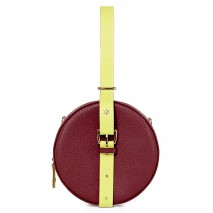 'Macaron Duo' Sac à main Rond Cuir Nappa Bordeaux, Paille & Or