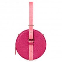 'Macaron Duo' Sac à main Rond Cuir Nappa Fuchsia, Rose & Or