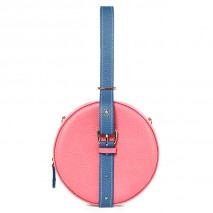 'Macaron Duo' Sac à main Rond Cuir Nappa Rose, Indigo & Or
