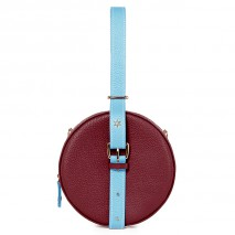 'Macaron Duo' Sac à main Rond Cuir Nappa Bordeaux, Azur & Or