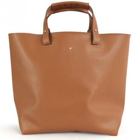 'Batignolles Grand' Leather Tote bag Cognac & Silver Grand