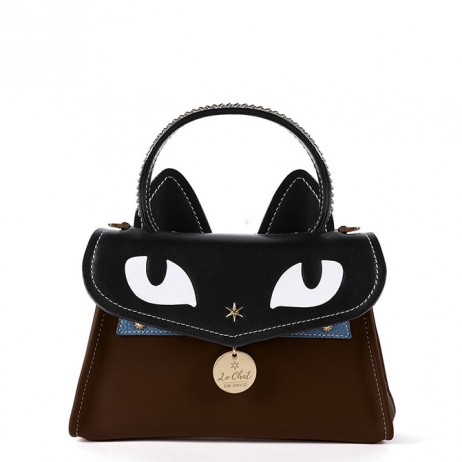 'Chantilly Le chat Premier' Sac à main Cuir Chocolat