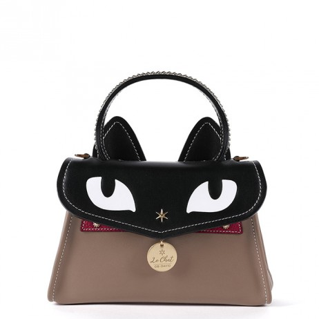 'Chantilly Le chat Premier' Sac à main Cuir Taupe
