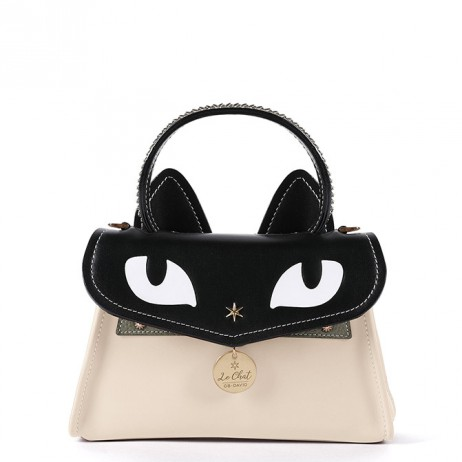 'Chantilly Le chat Premier' Sac à main Cuir Crème