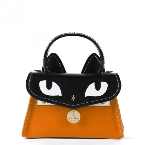 'Chantilly Le chat Premier' Sac à main Cuir Orange