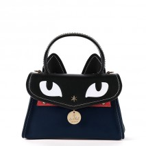 'Chantilly Le chat Premier' Sac à main Cuir Bleu Nuit