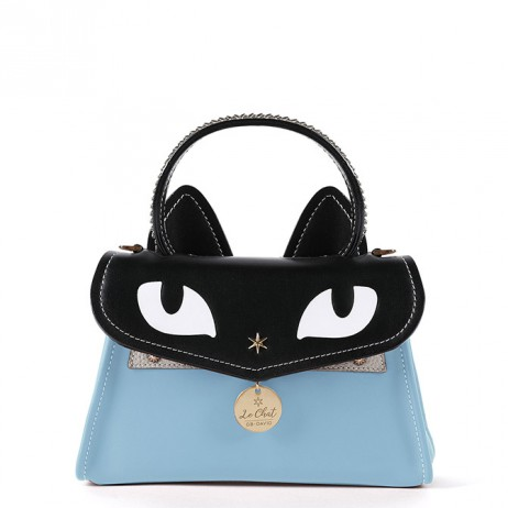 'Chantilly Le chat Premier' Sac à main Cuir Azur