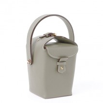 'Tuilerie' Nappa leather handbag Elephant grey & Gold