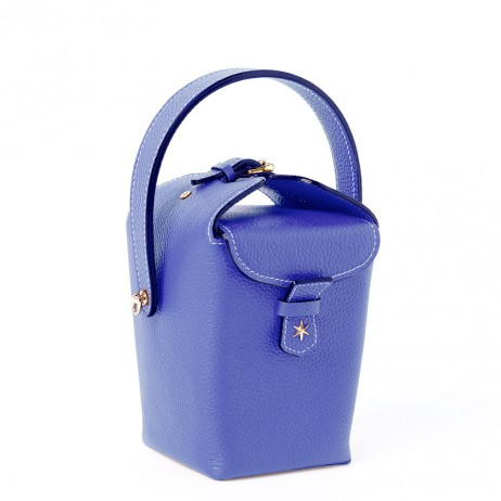 'Tuilerie' Sac à main Seau Cuir Nappa Bleu Profond & Or
