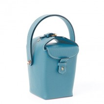 'Tuilerie' Nappa leather handbag Indigo & Gold