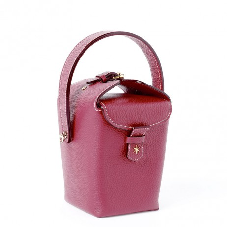 'Tuilerie' Sac à main Seau Cuir Nappa Bordeaux & Or