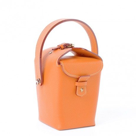 'Tuilerie' Sac à main Seau Cuir Nappa Orange & Or