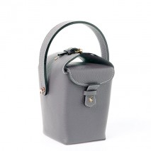 'Tuilerie' Nappa leather handbag Stone Grey & Gold