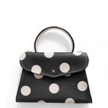 'Chantilly Petit' Pois Sac à main Cuir Nappa Noir & Or