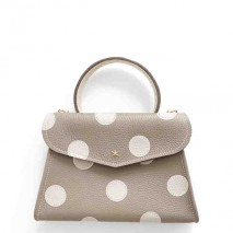 'Chantilly Petit' Pois Sac à main Cuir Nappa Tourterelle & Or