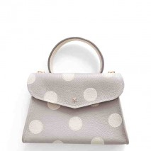 'Chantilly Petit' Pois Nappa Leather dots handbag Pearl grey & Gold