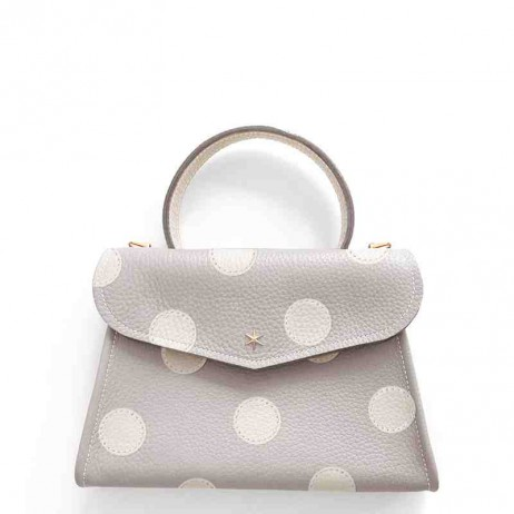 'Chantilly Petit' Pois Sac à main Cuir Nappa Perle & Or