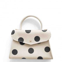 'Chantilly Petit' Pois Nappa Leather dots handbag Cream Black & Gold