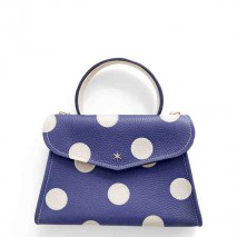 'Chantilly Petit' Pois Sac à main Cuir Nappa Marine & Or