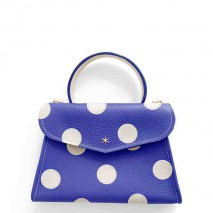 'Chantilly Petit' Pois Nappa Leather dots handbag Deep Blue & Gold