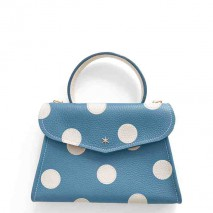 'Chantilly Petit' Pois Sac à main Cuir Nappa Indigo & Or