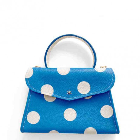 'Chantilly Petit' Pois Sac à main Cuir Nappa Cyan & Or