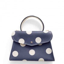 'Chantilly Petit' Pois Sac à main Cuir Nappa Bleu Nuit & Or