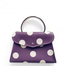 'Chantilly Petit' Pois Nappa Leather dots handbag Dark Purple & gold
