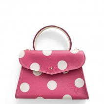 'Chantilly Petit' Pois Nappa Leather dots handbag Pink & Gold